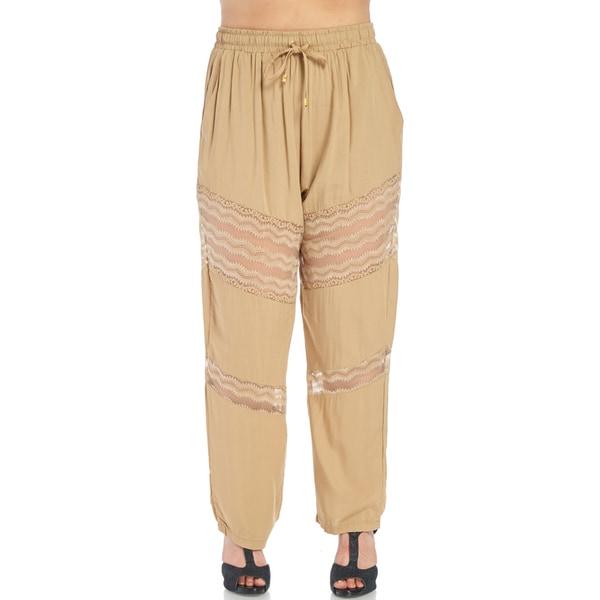f76e4def6c8 Xehar Women s Plus Size Stylish Elastic Relaxed Lace Fit Pants ...