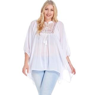 Xehar Women's Plus Size Casual Yoke Poncho Chiffon Boho Blouse Top