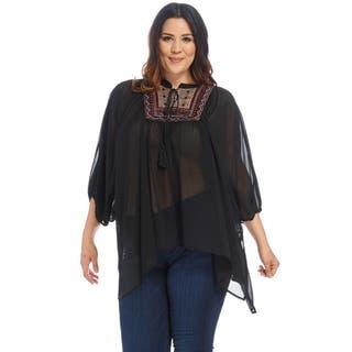 Xehar Women's Plus Size Casual Yoke Poncho Chiffon Boho Blouse Top|https://ak1.ostkcdn.com/images/products/15026998/P21523209.jpg?impolicy=medium