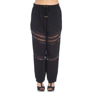 Xehar Women's Plus Size Stylish Elastic Relaxed Lace Fit Pants