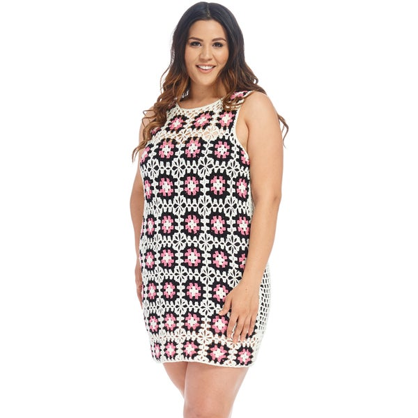44de395f15 Shop Xehar Women s Plus Size Floral Crochet Knit Mini Dress - Free ...