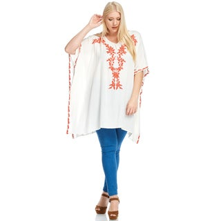 Xehar Women's Plus Size Stylish Floral Embroidery Woven Tunic Top