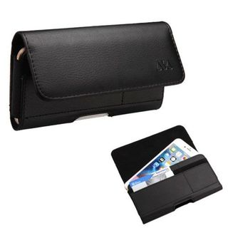 Insten Black Horizontal PU Leather Pouch with Card Slot