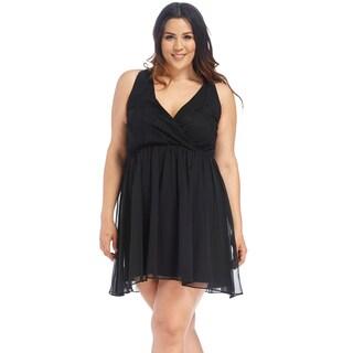 Xehar Women's Plus Size Sexy Lace Wrap Cinched Waist Dress