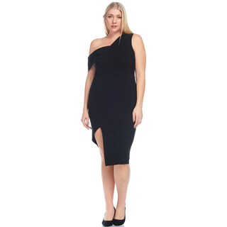 Xehar Women's Plus Size Sexy Fitted Asymmetric One Shoulder Solid Dress