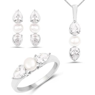Liliana Bella White Cubic Zirconia Necklace Ring and Earring Set with White Pearl