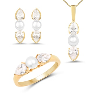 Liliana Bella Gold Plated Pearl Jewelry Set with White Cubic Zirconia