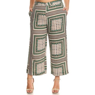 Xehar Women's Plus Size Elastic Waistband Tapestry Printed Palazzo Pants