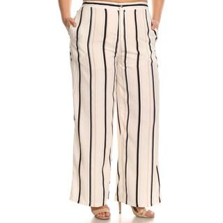 Xehar Women's Plus Size Casual Stripe Wide Leg Palazzo Pants