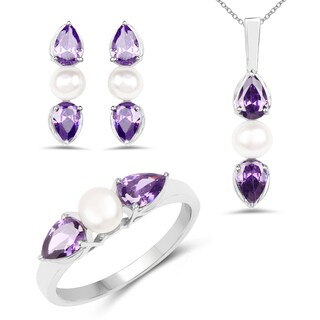 Liliana Bella Rhodium Plated Pearl Jewelry Set with Purple Cubic Zirconia - White