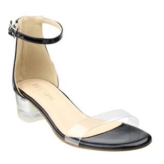Beston Women's DE28 Lucite Clear Heel Buckle Strap Ankle Sandals Dress Heel