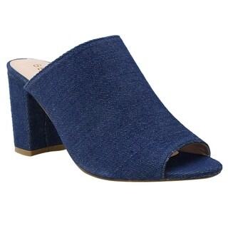 Beston DE27 Women's Peep Toe Slip-on Chunky Heel Mules One Size Small