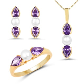 Liliana Bella Gold Plated Pearl Jewelry Set with Purple Cubic Zirconia - White