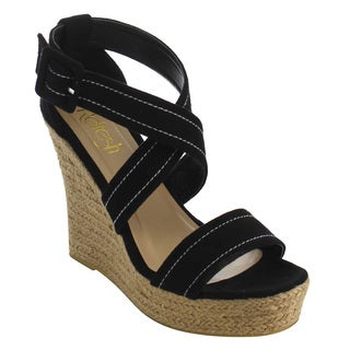Refresh Women's Faux Suede Stitched Criss Cross Strap Espadrille Platform Wedge Sandals