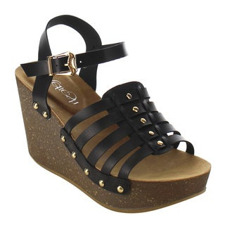 Refresh Women's IF02 Stud Strappy Buckle Ankle Strap Platform Wedge Sandal