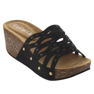 Refresh IF01 Women's Cutout Stud Rhinestone Slide-In Wedge Sandal