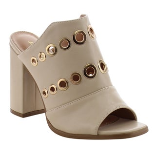 Jacobies Women's AF70 Beige Cut-out Wave Band Buckle Date Heels