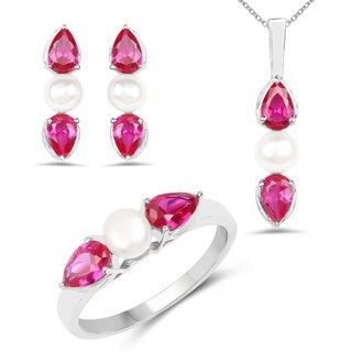 Liliana Bella Pink Cubic Zirconia Necklace Ring and Earring Set with White Pearl