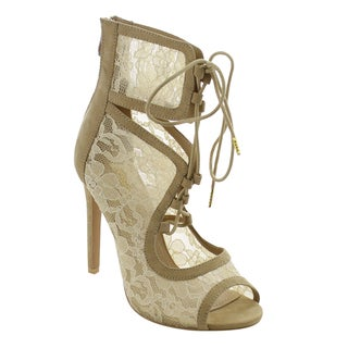 Jacobies Women's Beige, Black Stiletto Lace-up Peep-toe Evening Party Heels