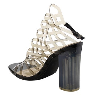 Jacobies Women's AF52 Clear Lucite Slingback Peep-toe High-heel Shoes