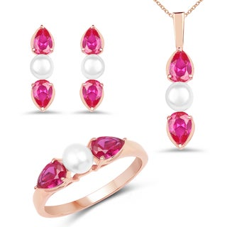 Liliana Bella Rose Gold Plated Pearl Jewelry Set with Pink Cubic Zirconia - White
