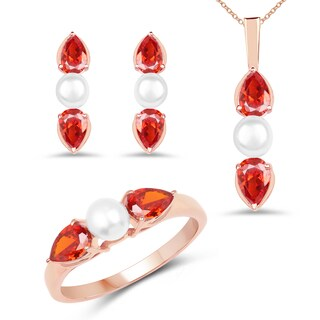 Liliana Bella Rose Gold Plated Pearl Jewelry Set with Orange Cubic Zirconia - White