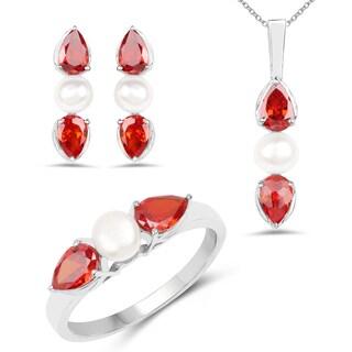 Liliana Bella Rhodium Plated Pearl Jewelry Set with Orange Cubic Zirconia - White