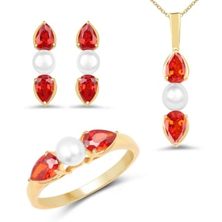 Liliana Bella Gold Plated Pearl Jewelry Set with Orange Cubic Zirconia - White