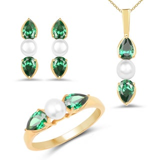 Liliana Bella Gold Plated Pearl Jewelry Set with Green Cubic Zirconia - White