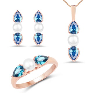 Liliana Bella Rose Gold Plated Pearl Jewelry Set with Blue Cubic Zirconia - White