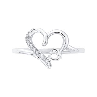 14K White Gold Open Heart Diamond Ring