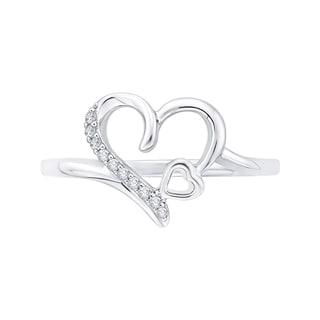 14K White Gold Open Heart Diamond Ring