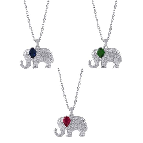 Divina Silver Overlay Gemstone and Diamond Accent Elephant Pendant. (I-J, I2-I3)