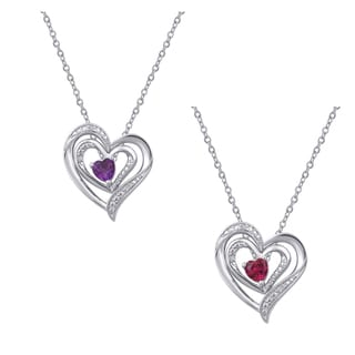 Divina Silver Overlay Gemstone And Diamond Accent Heart Pendant I J I2 I3
