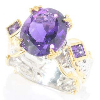Michael Valitutti Palladium Silver Oval & Princess Cut African Amethyst Three-Stone Ring