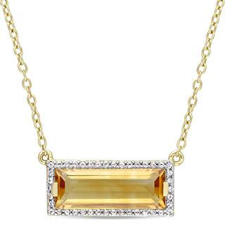 Miadora Yellow Plated Sterling Silver Citrine and White Sapphire Bar Necklace|https://ak1.ostkcdn.com/images/products/15028946/P21524904.jpg?impolicy=medium