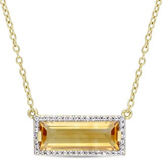 Miadora Yellow Plated Sterling Silver Citrine and White Sapphire Bar Necklace