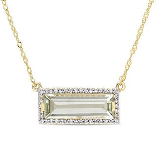 Miadora Signature Collection 14k Yellow Gold Green Amethyst 1/8ct TDW Diamond Bar Necklace