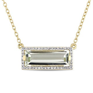 Miadora Yellow Plated Sterling Silver Green Amethyst and White Sapphire Bar Necklace