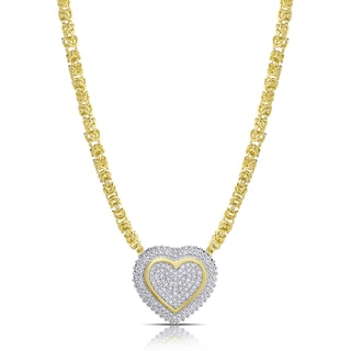 Finesque Gold over Sterling Silver 1/2ct TDW Diamond Byzantine Heart Necklace (I-J, I2-I3)