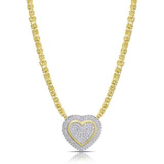 Finesque Gold over Sterling Silver 1/2ct TDW Diamond Byzantine Heart Necklace (I-J, I2-I3)|https://ak1.ostkcdn.com/images/products/15029003/P21524929.jpg?impolicy=medium