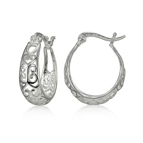 Mondevio Sterling Silver High Polished Heart Filigree Oval Hoop Earrings