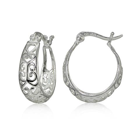 87d0f26ba Mondevio Sterling Silver High Polished Heart Filigree Oval Hoop Earrings