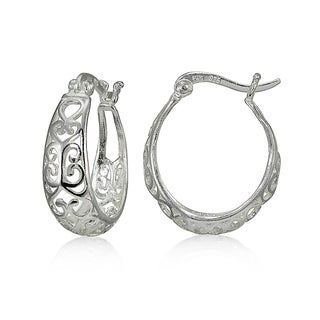Mondevio Sterling Silver High Polished Heart Filigree Oval Hoop Earrings