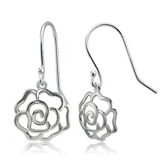 Mondevio Sterling Silver High Polished Open Rose Dangle Earrings