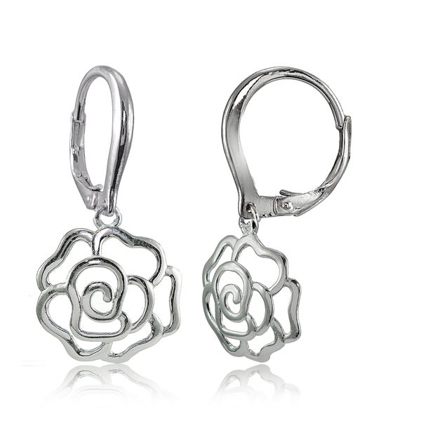 Mondevio Sterling Silver High Polished Open Rose Leverback Earrings