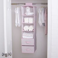 Delta Children 6 Shelf Storage with 2 Drawers, Pink Polka Dots