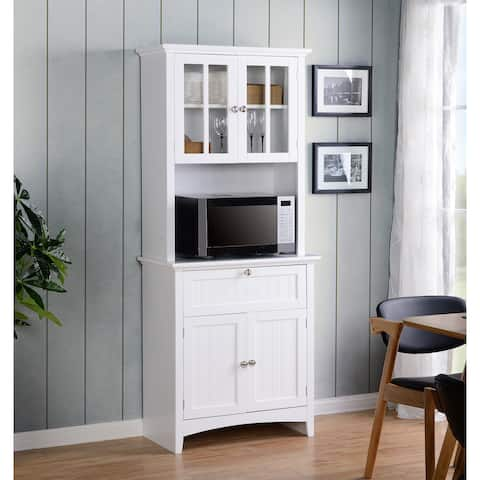 OS Home and Office Buffet and Hutch with Framed Glass Doors and Drawer - N/A