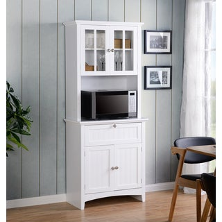 OS Home and Office Buffet and Hutch with Framed Glass Doors and Drawer - White