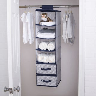Delta Children 6 Shelf Storage with 2 Drawers, Navy